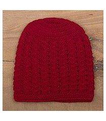 100% alpaca hat, 'crimson stars align' (peru)