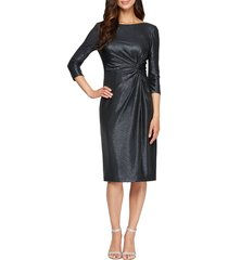 women's alex evenings knot metallic cocktail dress, size 14 - blue