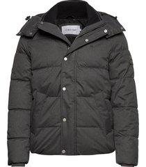quilted wool optic hooded jacket fodrad jacka grå calvin klein