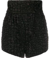 saint laurent textured short high-waisted shorts - black