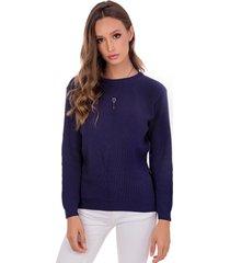 blusa myah lua azul escuro básico em tricô