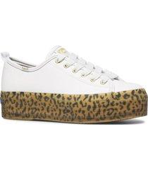 zapatilla cuero triple up blanco leopardo keds