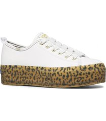 zapatilla cuero triple up blanco leopardo keds