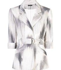 josie natori two-tone belted jacket - white