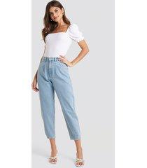 na-kd trend cropped balloon leg jeans - blue