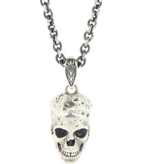 distressed sterling silver skull necklace