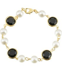 2028 gold-tone imitation pearl with black channels link bracelet