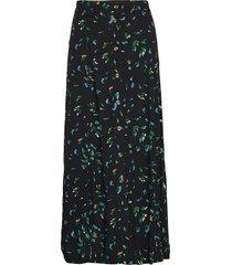 printed crepe skirt lange rok groen ganni