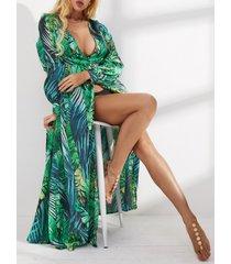 vestido de manga larga con cuello en v tropical y diseño dividido verde