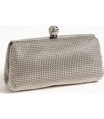 whiting & davis 'crystal' mesh clutch - grey