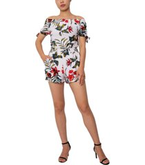 derek heart juniors' tropical off-the-shoulder tie-sleeve romper