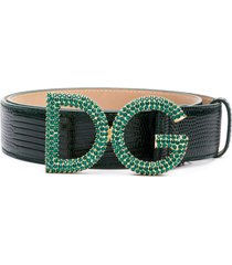 dolce & gabbana snake embossed crystal logo belt - green