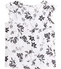 blusa m/c con estampado floral color blanco, talla l