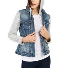 inc knit & denim hoodie jacket, created for macy's