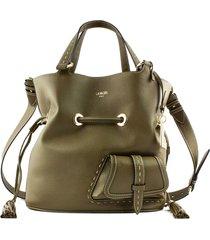 lancel grained khaki leather bucket bag