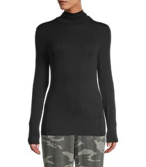 splendid women's high neck long-sleeve top - black - size xs