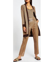 river island womens brown faux leather chain belt trousers