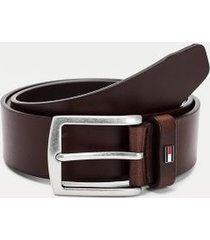 tommy hilfiger men's brushed steel leather belt cigar - 42