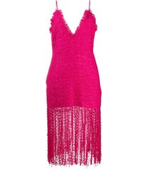 msgm sleeveless tweed midi dress - pink
