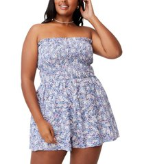 trendy plus shirred strapless playsuit