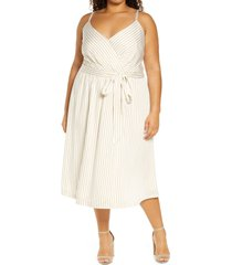 plus size women's city chic estelle stripe faux wrap dress, size large - white
