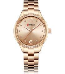 orologio da polso al quarzo casual con cinturino in acciaio inossidabile con quadrante rotondo, semplice orologio numerico per donna