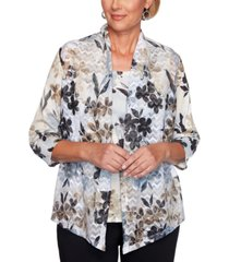 alfred dunner petite classics printed layered-look top