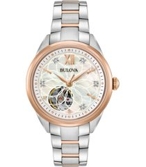 bulova women's automatic diamond accent two-tone stainless steel bracelet watch 34mm 98p170