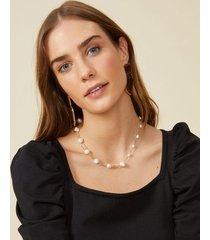amaro feminino colar assimétrico pérolas folheado, dourado