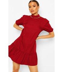 cotton high neck puff sleeve shift dress, berry