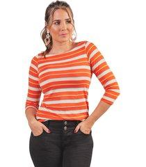 camiseta adrissa en punto manga 3/4 en preteñido a rayas
