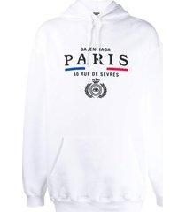 paris embroidered logo hoodie white