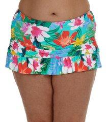 la blanca plus size tropical ruffle skirted bikini bottoms women's swimsuit