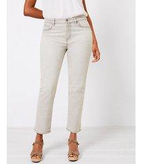 loft curvy high rise straight crop jeans in light grey wash