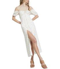 bardot off-the-shoulder midi dress