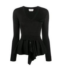 alexander mcqueen blusa peplum de tricô com detalhe de camada - preto