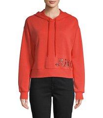 graphic cotton-blend drawstring hoodie