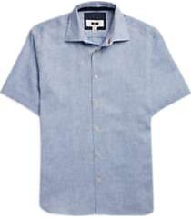joseph abboud blue diamond short sleeve sport shirt