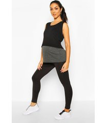 zwangerschap gestreepte over the bump leggings, black