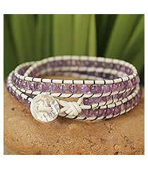 leather and amethyst wrap bracelet, 'lilac tulip' (thailand)