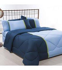 coordenado edredom + jogo de cama king aconchego premium 06 peã‡as - azul/ marinho - multicolorido - dafiti