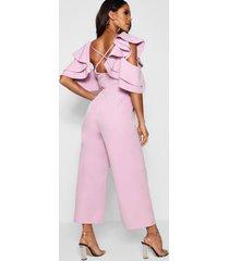 statement ruffle cross back jumpsuit, lilac
