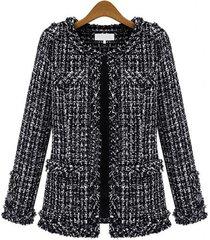 cappotti da donna a maniche lunghe in nappa scozzese casual