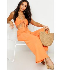 bralette met strik en broek met wijde pijpen set, oranje