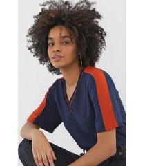 camiseta iodice color block azul-marinho/laranja - kanui