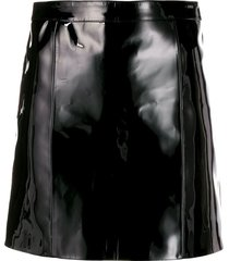 manokhi fitted patent leather skirt - black