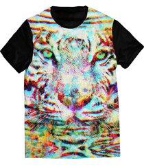 camiseta elephunk estampada animal print tigre preta - kanui