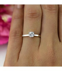 0.50 ct round cut diamond 14k white gold over 925 silver solitaire wedding ring