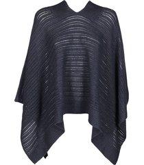 dark indigo cashmere-linen blend cape