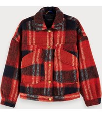 scotch & soda oversized checked trucker jacket